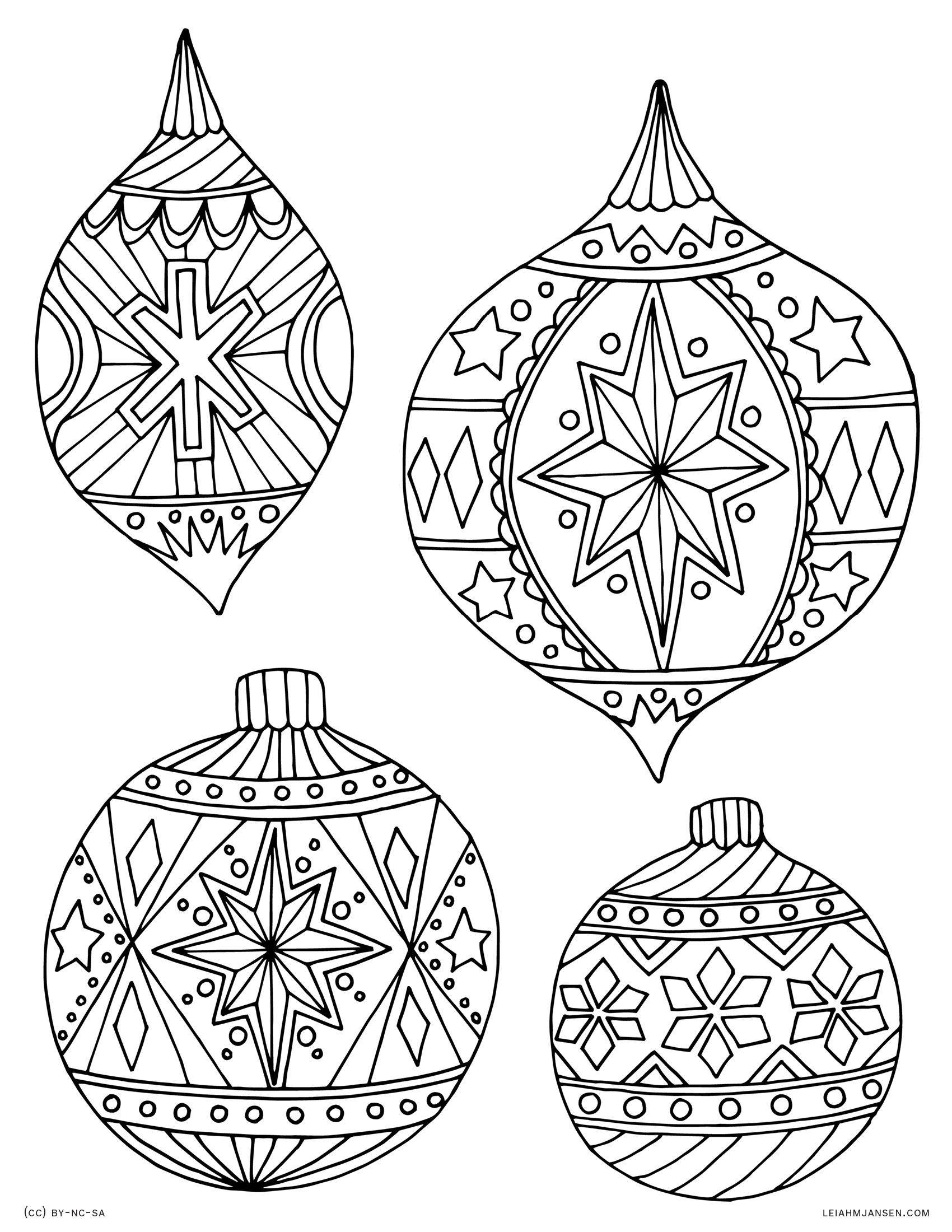 Holiday Coloring Pages - Free Printable Christmas Tree Ornaments Coloring Pages