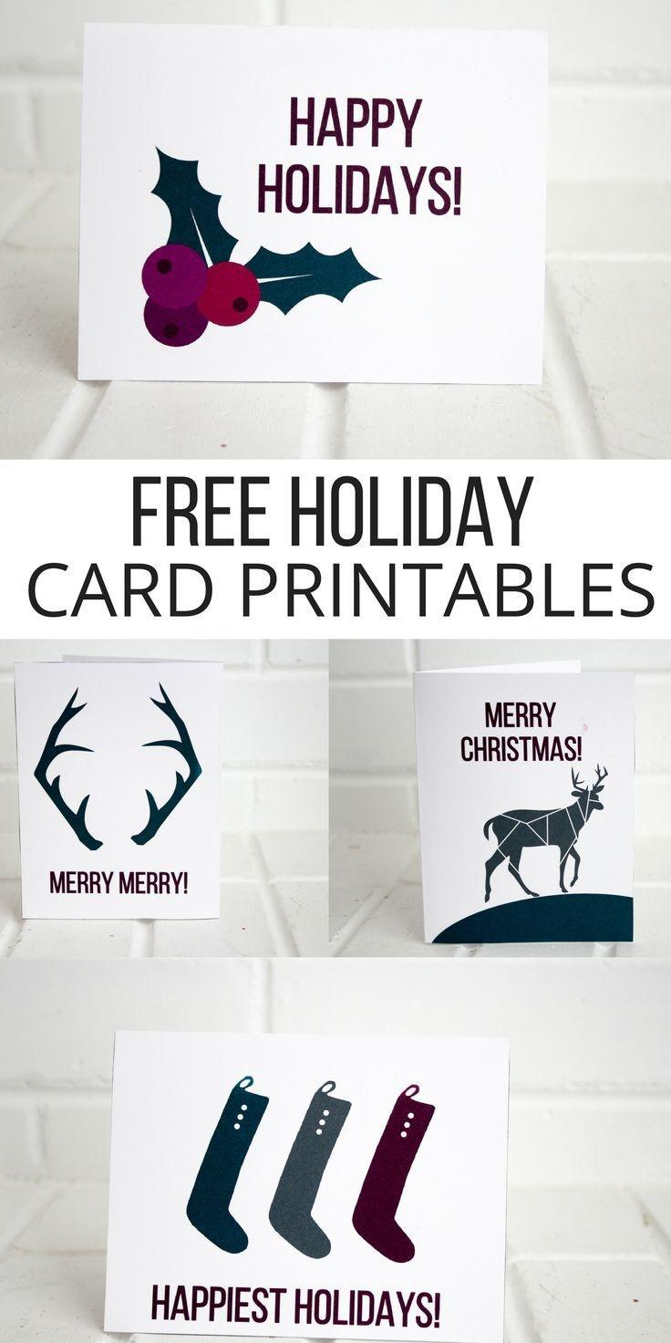 Holiday Printable Cards (Free) | Christmas | Christmas Crafts - Make A Holiday Card For Free Printable