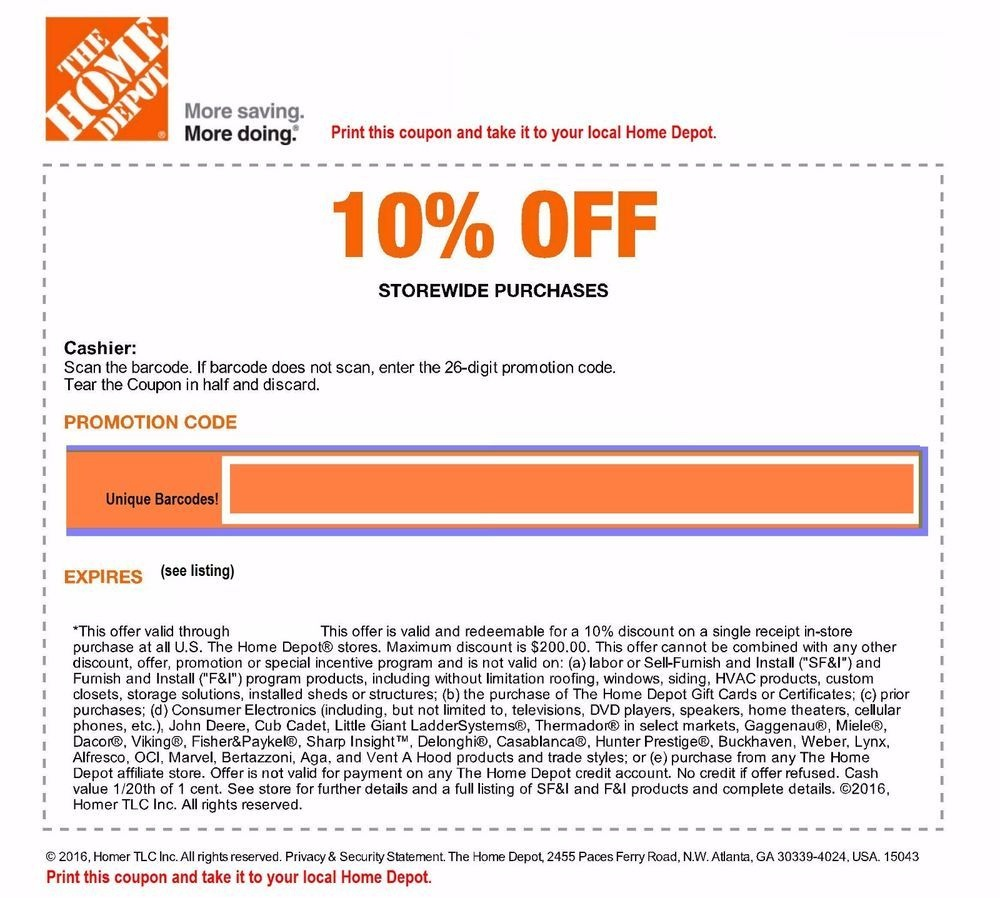 Home Depot 10%-Off-Coupon In Store Only Save Up To $200 | Tools - Free Printable Home Depot Coupons