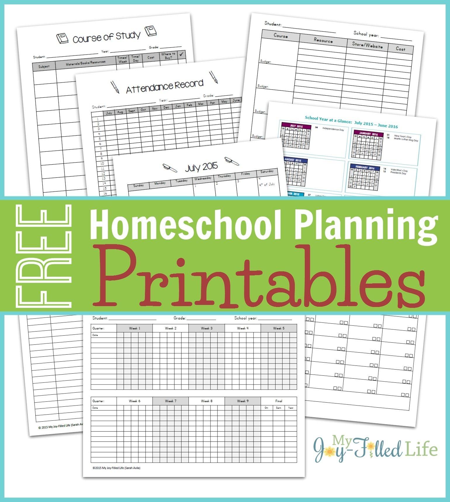 Homeschool Planning Resources & Free Printable Planning Pages - Free Printable Attendance Sheets For Homeschool