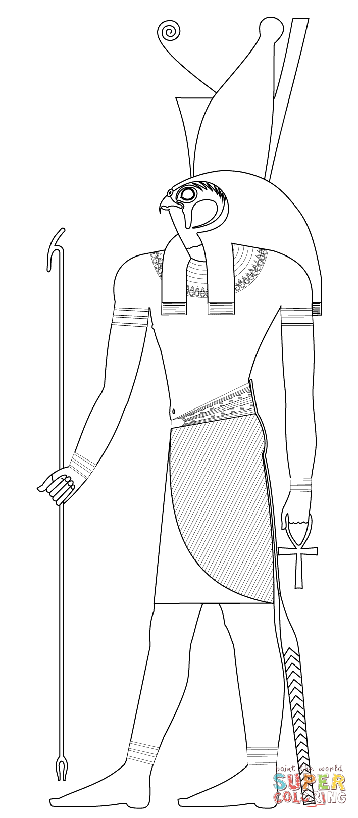 Horus, Ancient Egyptian God Coloring Page | Free Printable Coloring - Free Printable Sarcophagus