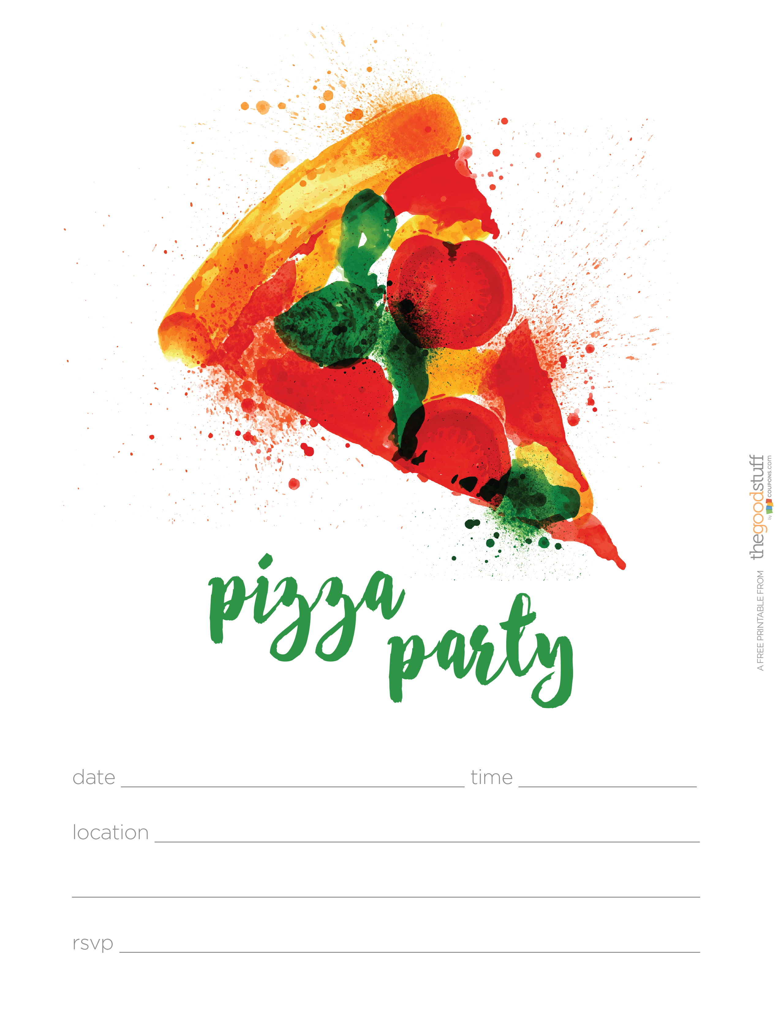 Hostess Helpers: Free Pizza Party Printables | Tea Party Birthday - Free Printable Italian Party Invitations