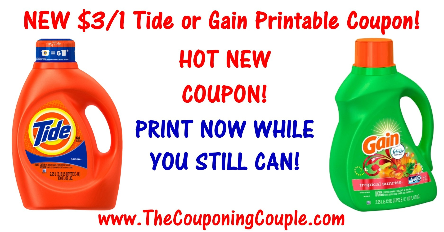 Hot New $3.00 Tide Printable Coupon Or Gain Printable Coupon ~ Print - Gain Coupons Free Printable