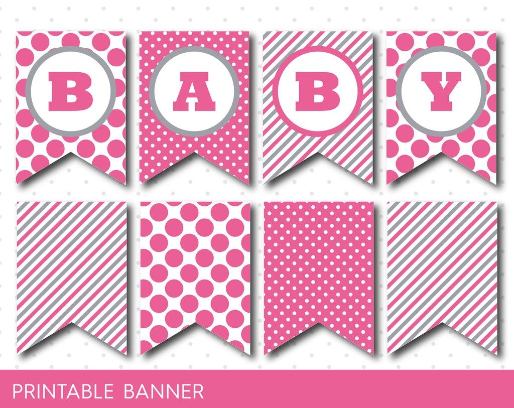 Hot Pink Banner, Party Banner, Birthday Banner, Baby Shower Banner - Free Printable Pink Banner