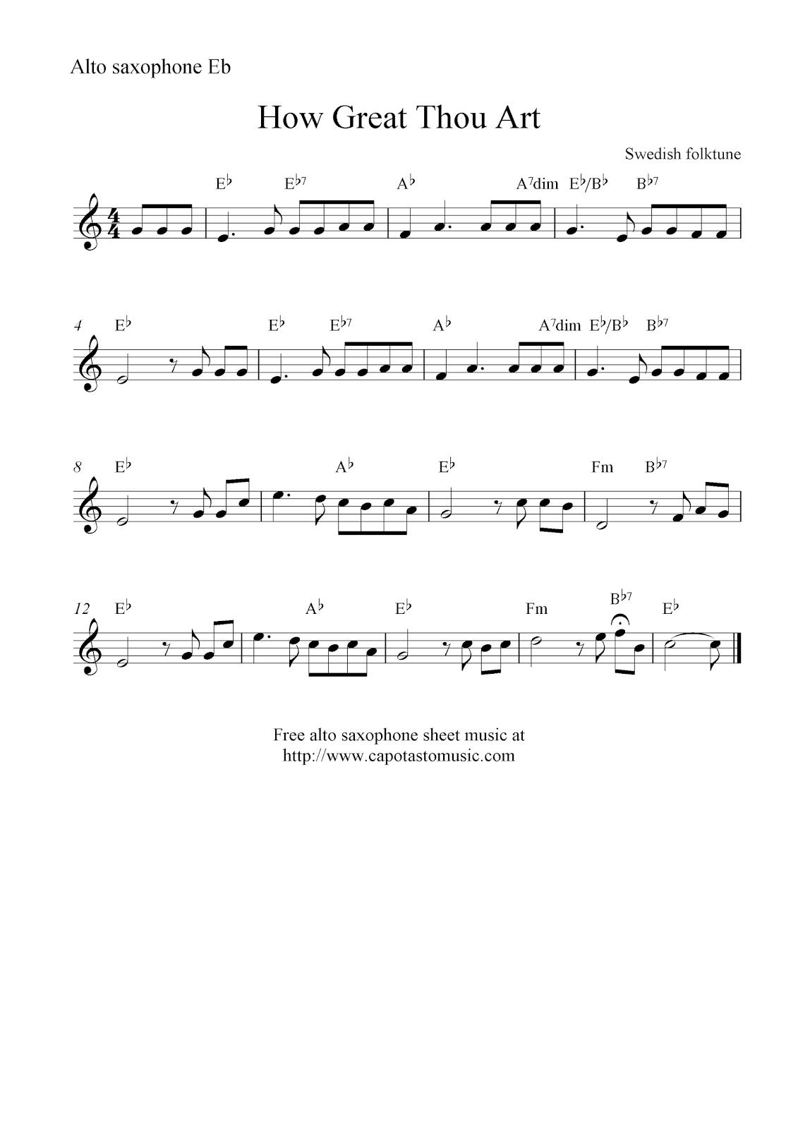 How Great Thou Art, Free Alto Saxophone Sheet Music Notes - Free Printable Alto Saxophone Sheet Music