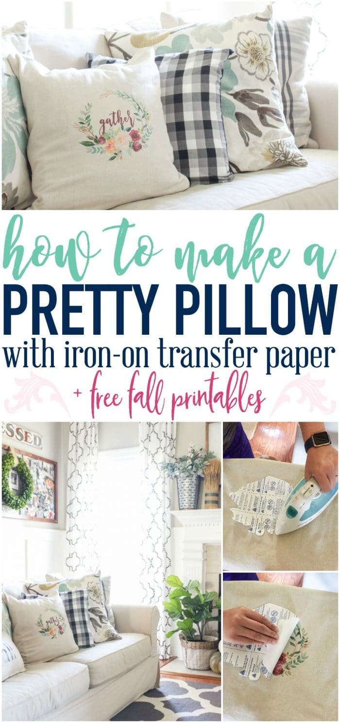 How To Make A Pillow With Iron On Transfer Paper + A Free Fall - Free Printable Christmas Iron On Transfers