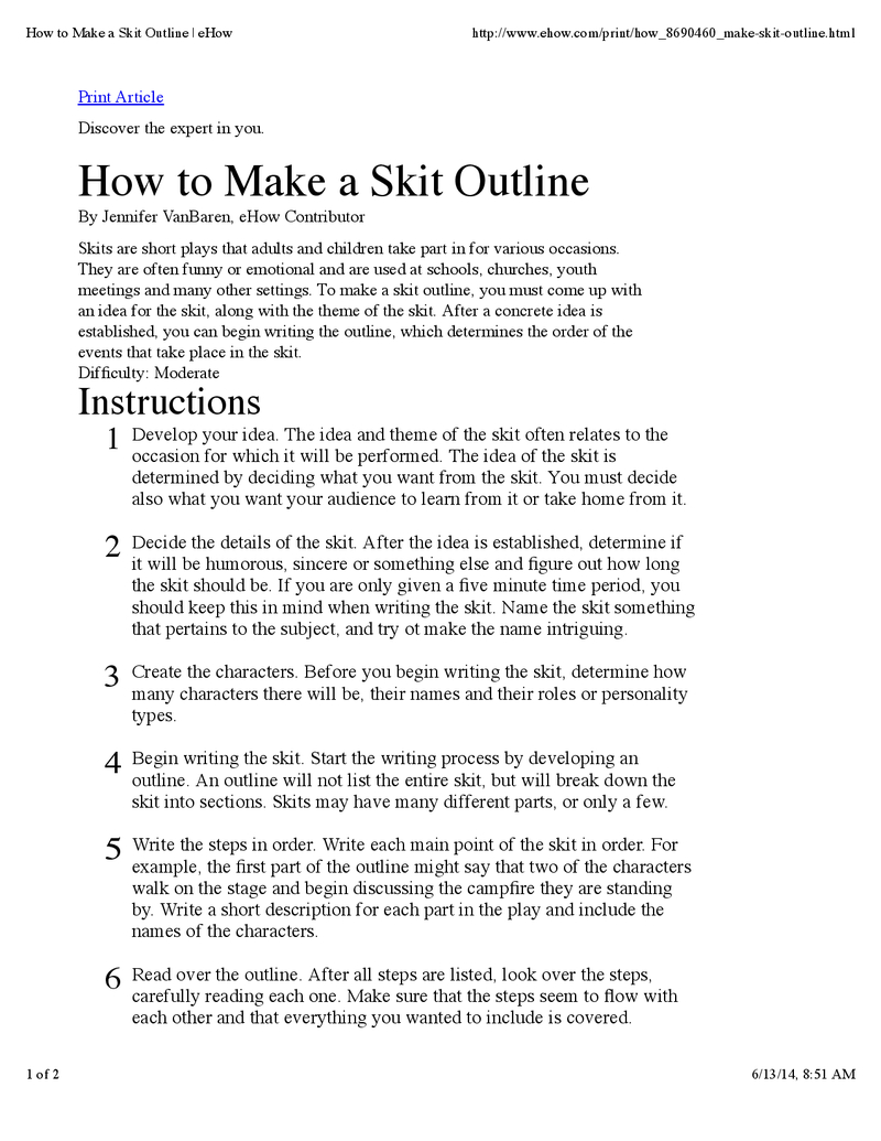 How To Make A Skit Outline | Writing | Script Writing, Writing - Free Printable Play Scripts