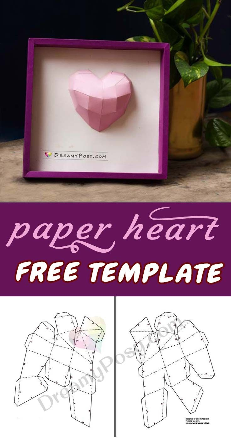 How To Make Paper 3D Heart Frame, Free Template And Tutorial - Free Printable Paper Crafts