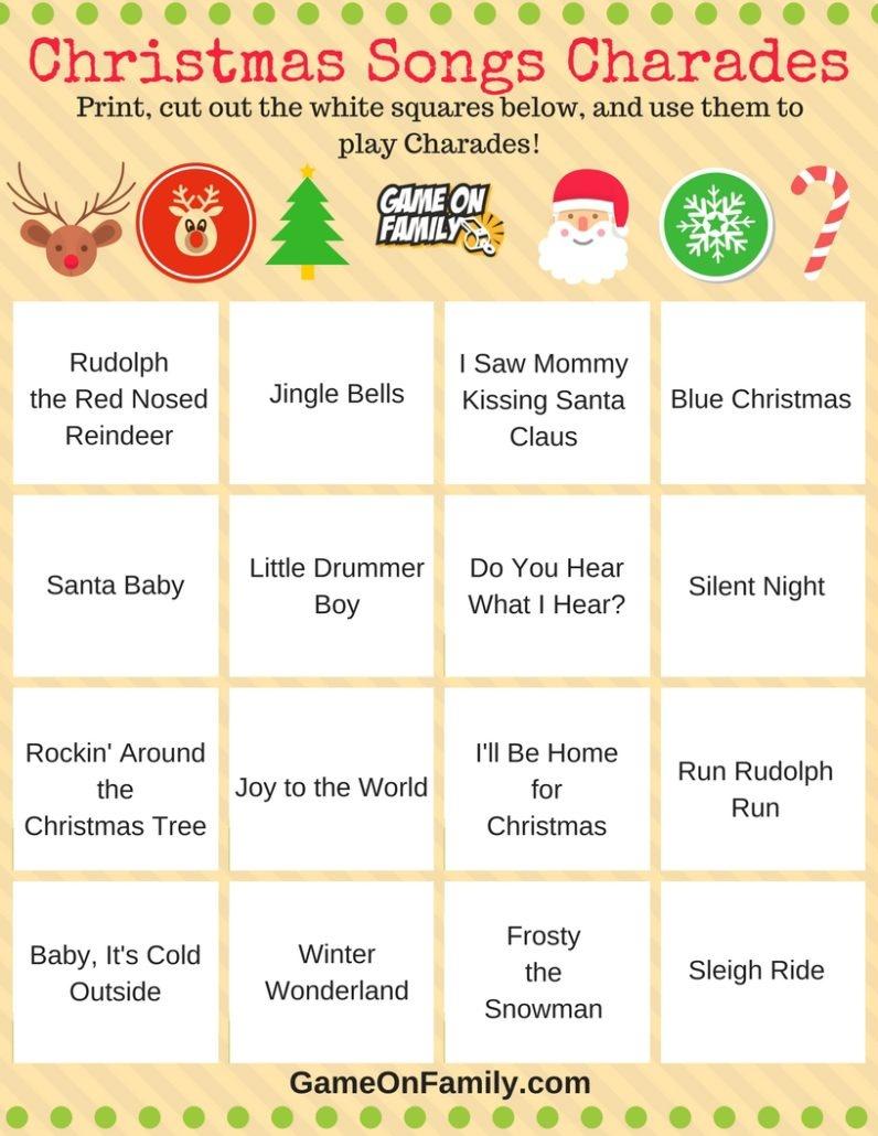 How To Play Christmas Charades: Free Printable Games!   Game On Family - Free Printable Christmas Family Games