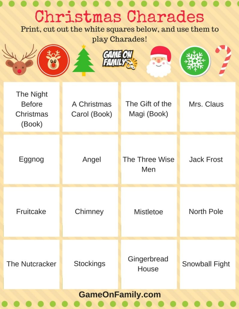 How To Play Christmas Charades: Free Printable Games! | Game On Family - Free Printable Christmas Word Games For Adults