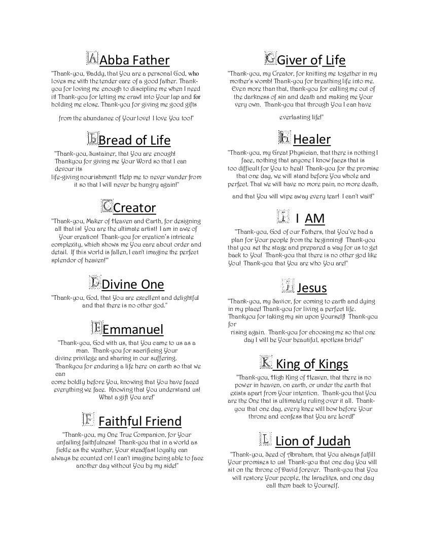 How To Rest In The Names Of God Printable - His Dearly Loved - Free Printable Names Of God