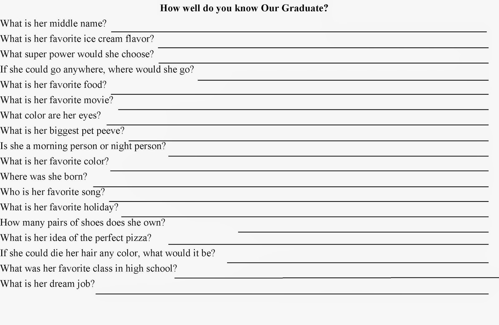 How Well Do You Know? Quiz Party Game | Diy Party Mom - Free Printable Graduation Party Games