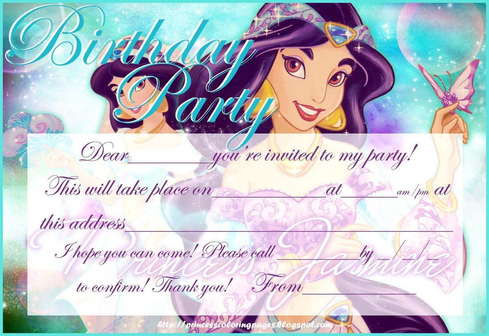 Hundreds Of Free, Printable Princess Coloring Pages, Princess Party - Free Printable Princess Jasmine Invitations