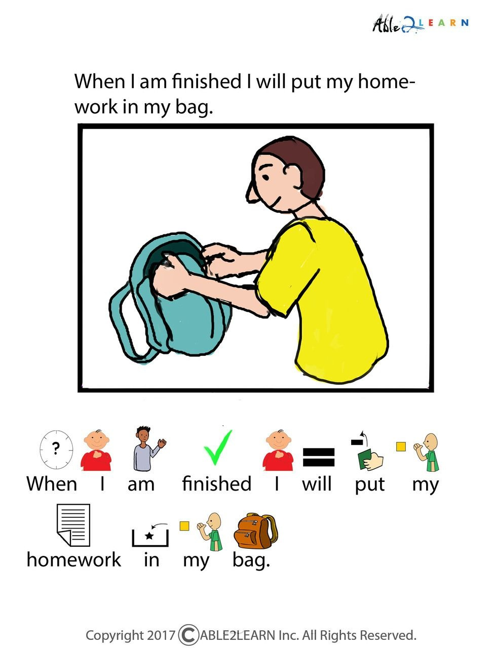 I Can Do My Homework Social Story: Pages 10 | Icons | Social Stories - Free Printable Social Stories Worksheets