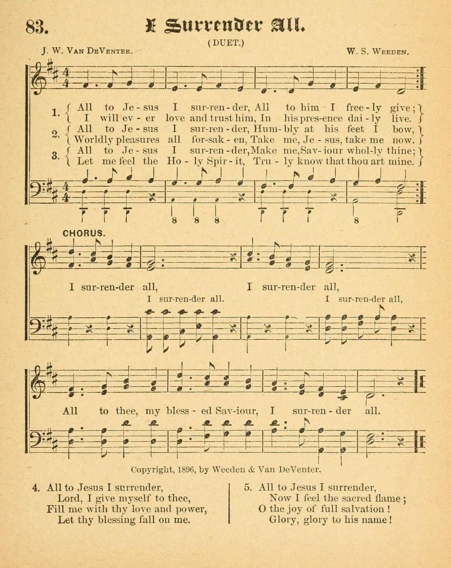 I Surrender All - Wikipedia - Gospel Song Lyrics Free Printable