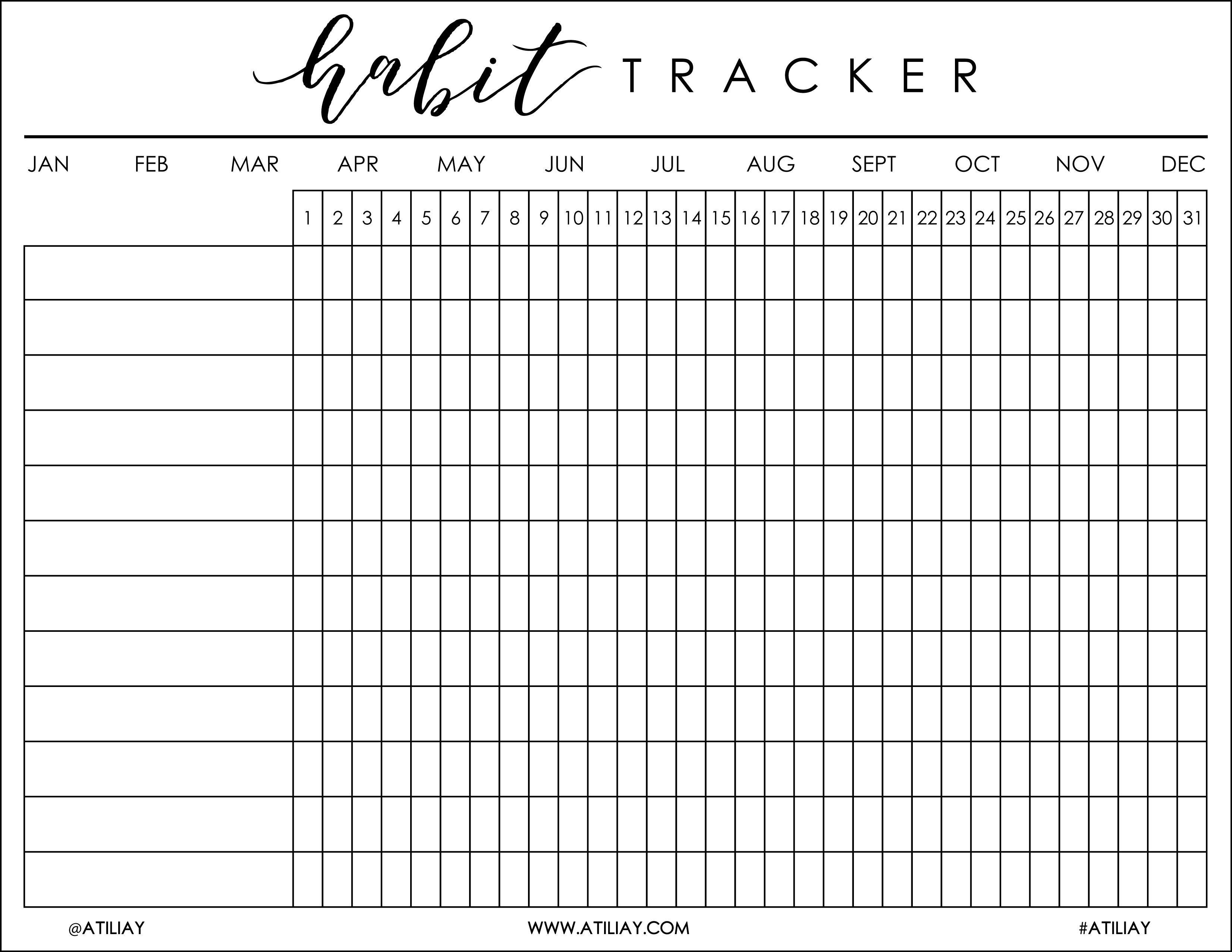 I Was Recently Helping My Boyfriend, Justin, Get His Bu …   Bujo - Free Printable Habit Tracker
