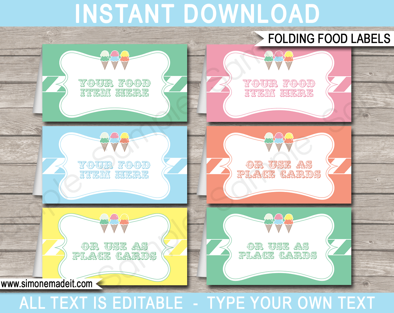 Ice Cream Party Food Labels | Place Cards | Ice Cream Theme Party - Free Printable Food Tags For Buffet