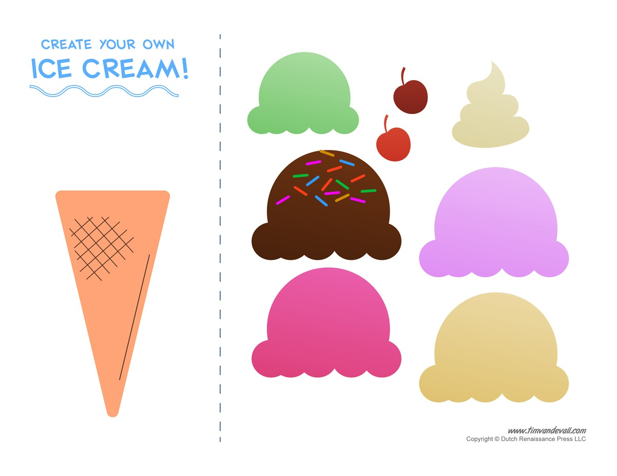 Ice Cream Templates And Coloring Pages For An Ice Cream Party - Ice Cream Cone Template Free Printable