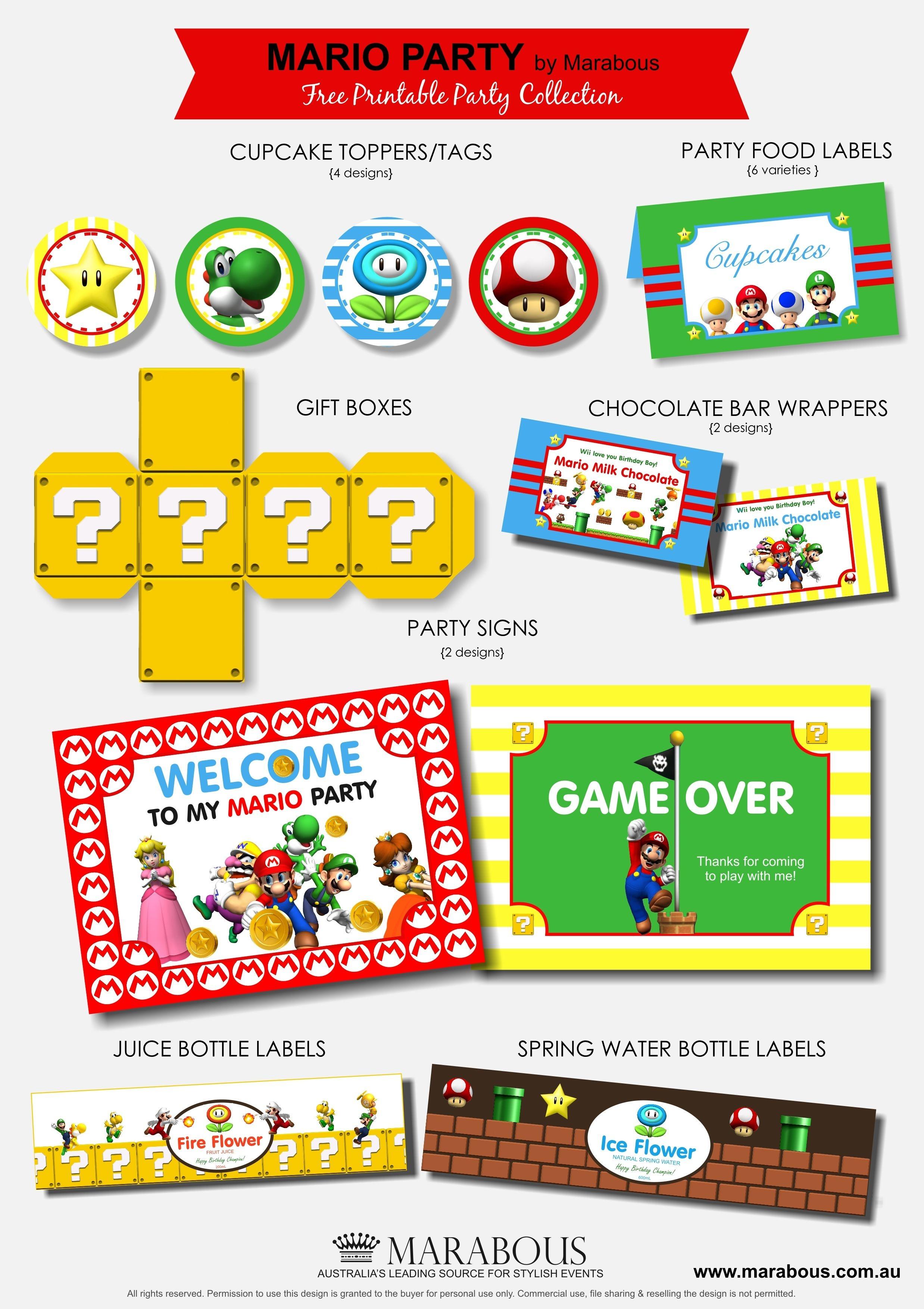 Ideas Para Fiestas Temáticas De Super Mario | Birthdays | Mario - Free Mario Printables