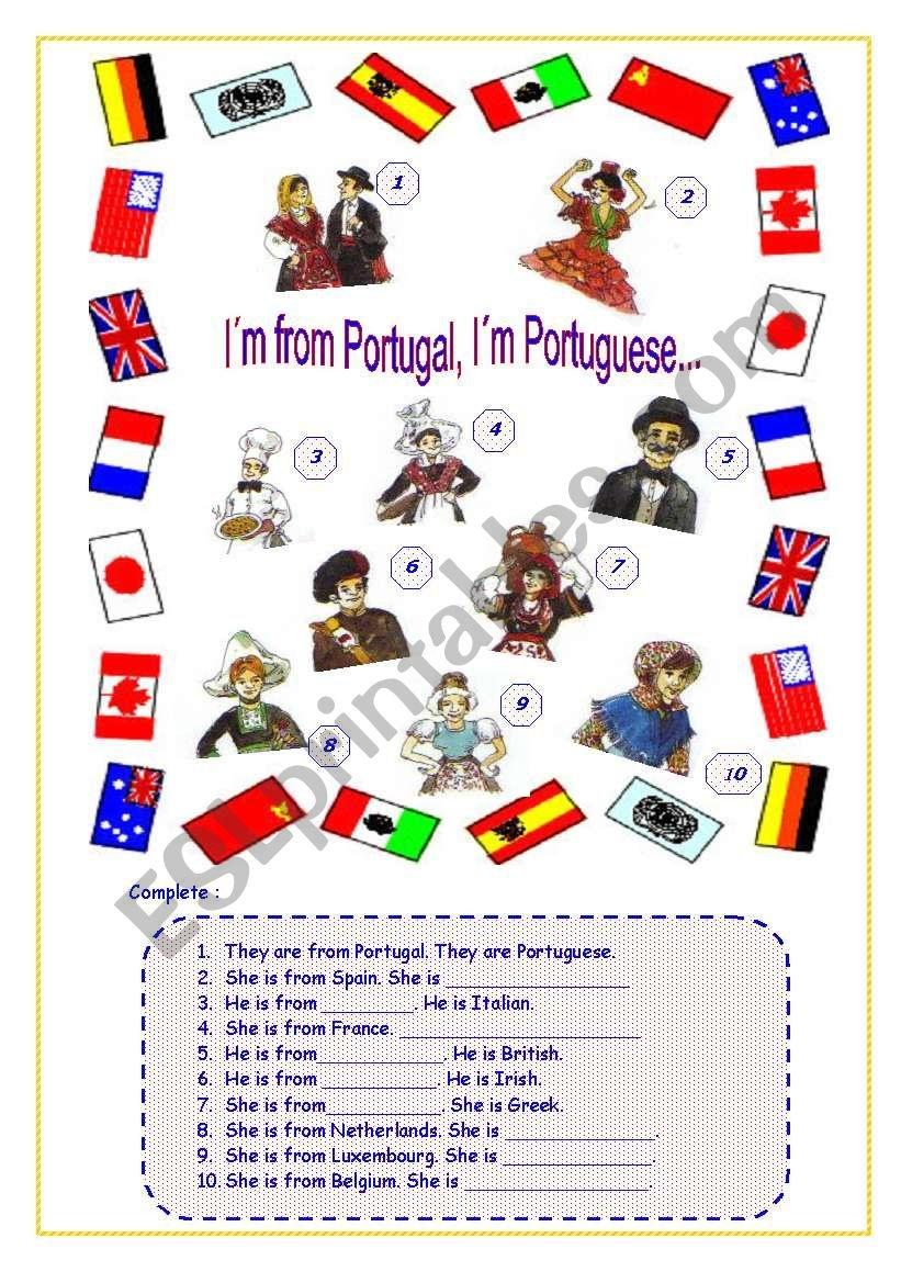 I´m From Portugal. I´m Portuguese.(1/1) - Esl Worksheetvanda51 - Free Printable Portuguese Worksheets