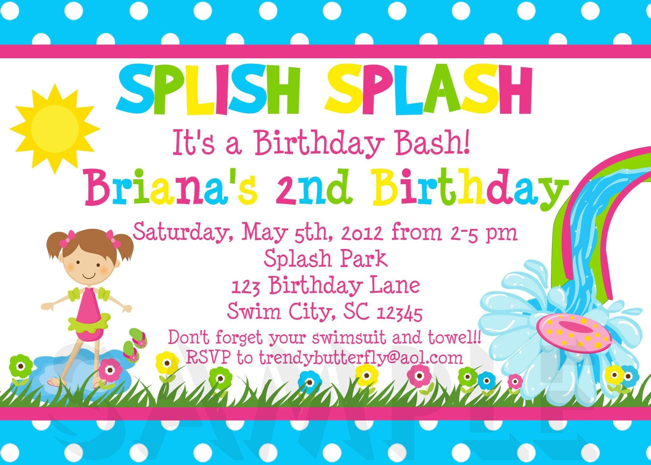 Image For Free Printable Kids Birthday Party Invitations Template - Free Printable Water Park Birthday Invitations