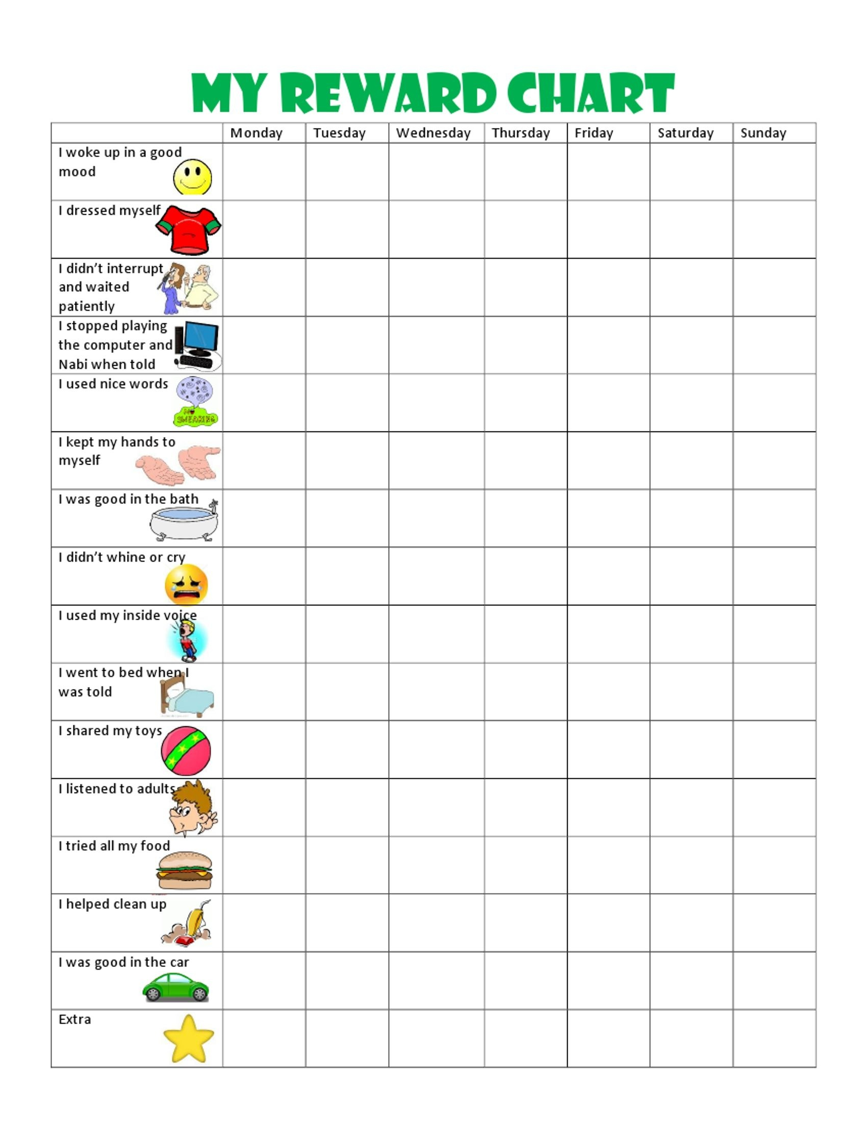 Image Result For Free Printable Behavior Charts For 6 Year Olds - Free Printable Chore And Behavior Charts