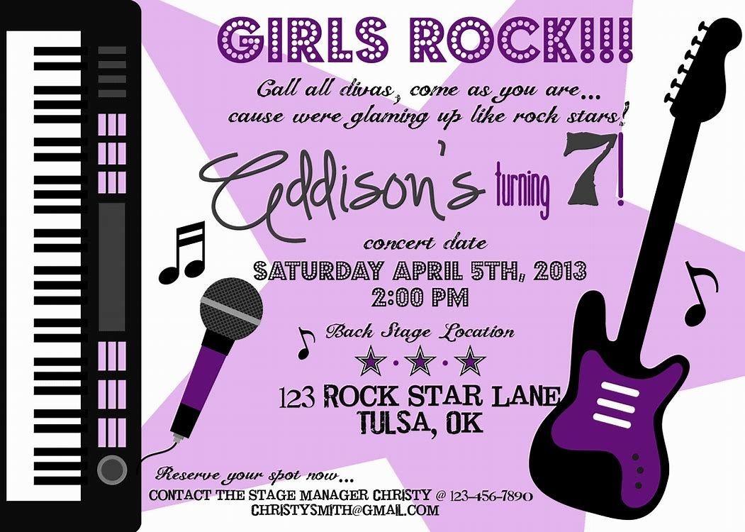 Image Result For Free Printable Rock Star Party Invitations | Sanaa - Free Printable Rockstar Birthday Invitations