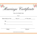 In Simple Words, We Can Explain That A Wedding Certificate Format   Fake Marriage Certificate Printable Free