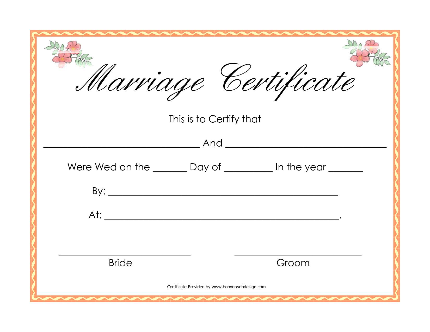 In Simple Words, We Can Explain That A Wedding Certificate Format - Fake Marriage Certificate Printable Free