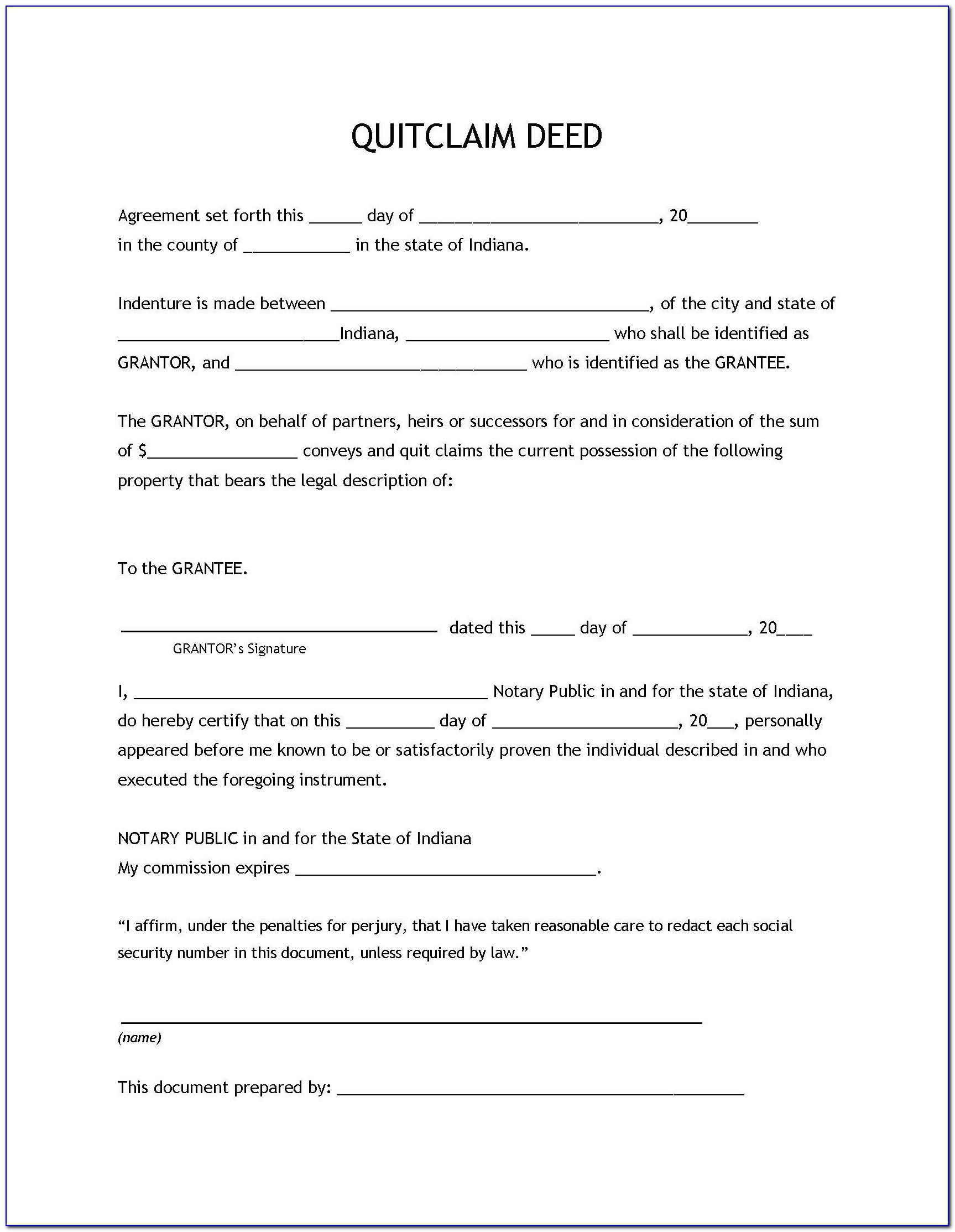 Indiana Deed Forms - Form : Resume Examples #8R2Nrln2A7 - Free Printable Quit Claim Deed Form Indiana