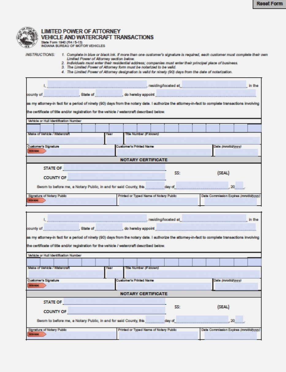Indiana Revocation Power Of Attorney Form – Power Of Attorney - Free Printable Revocation Of Power Of Attorney Form