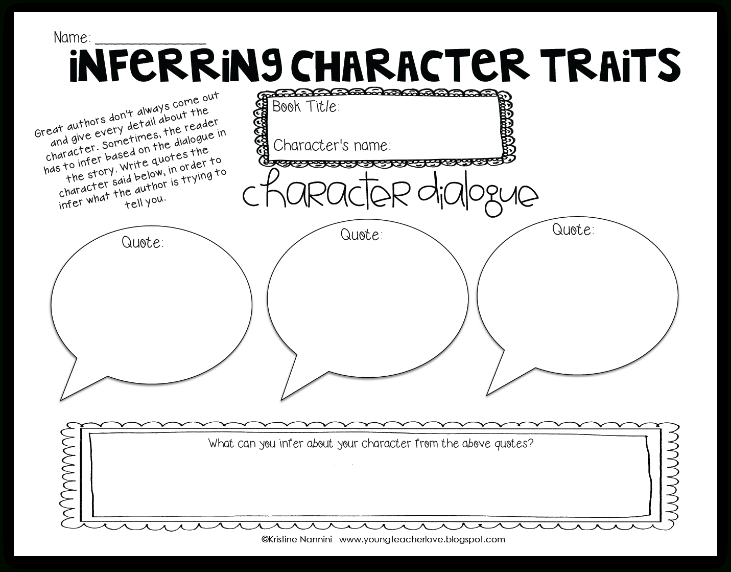 Inferring Character Traits Through Dialogue (Plus A Free Graphic - Free Printable Character Traits Graphic Organizer