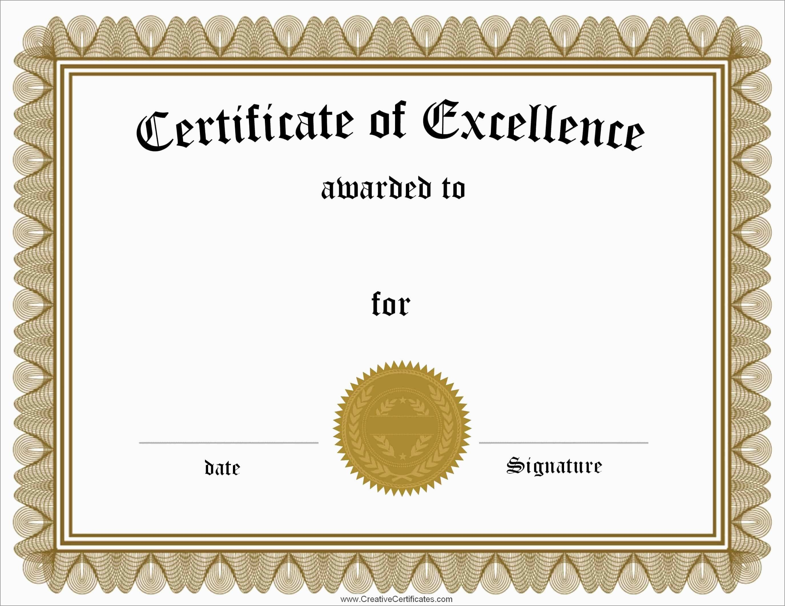 Inspirational Award Certificate Template Free | Best Of Template - Free Customizable Printable Certificates Of Achievement