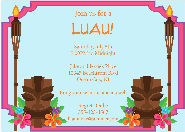 Inspirational Free Hawaiian Luau Flyer Template | Best Of Template - Free Printable Luau Flyers