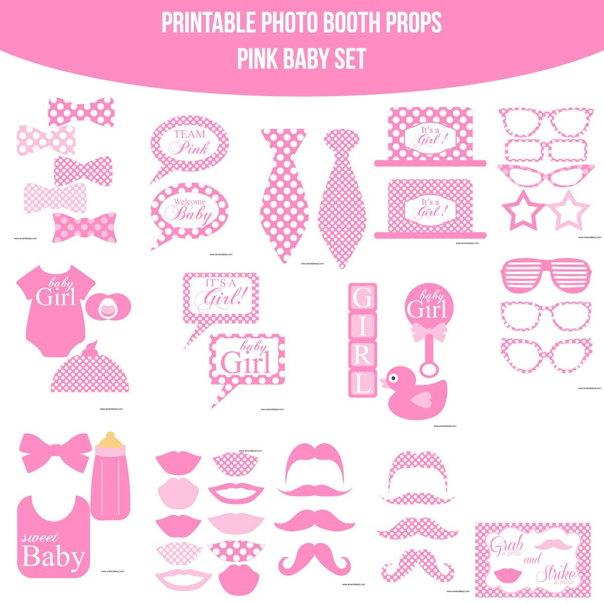 Instant Download Baby Pink Dots Printable Photo Booth Prop Set - Free Printable Baby Shower Photo Booth Props