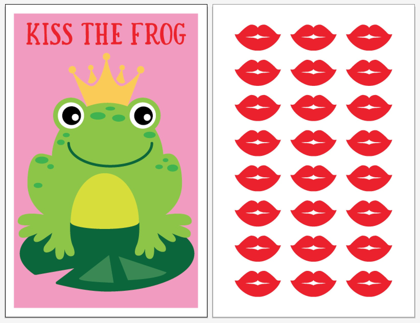 Instant Download Pin The Kiss The Frog Party Game For Your | Etsy - Pin The Kiss On The Frog Free Printable