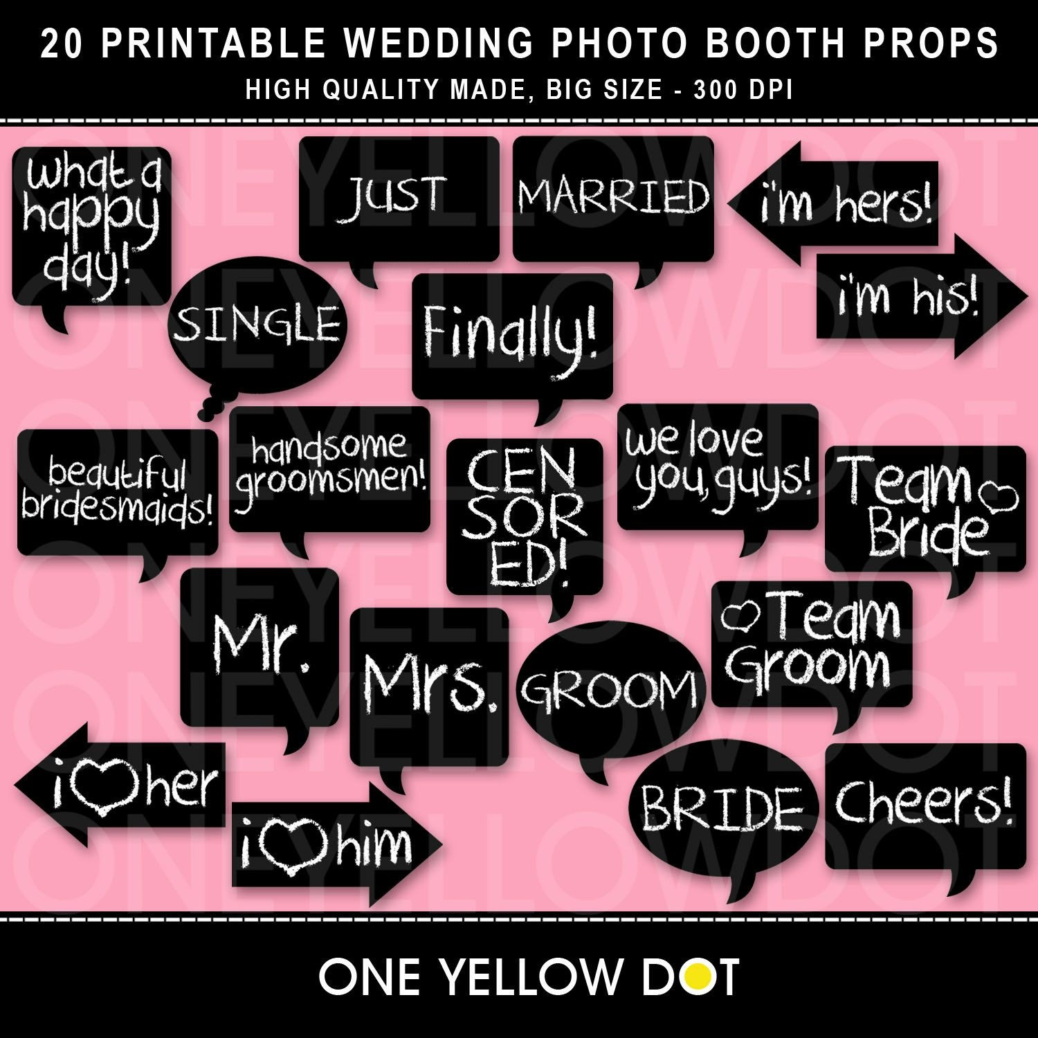 Instant Download - Wedding Photo Booth Props Printable - Pdf - Free Printable Wedding Photo Booth Props