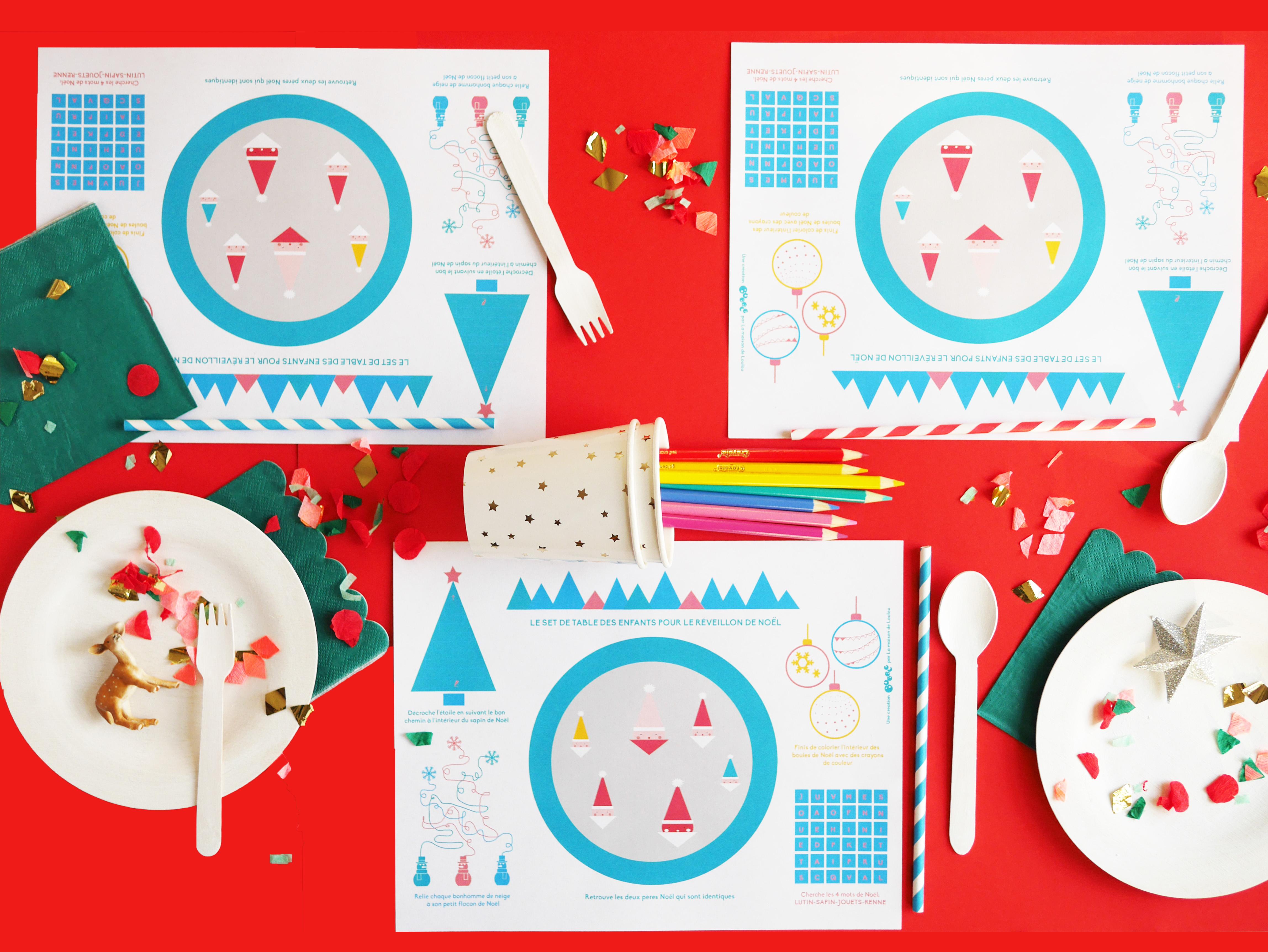 Interactive Free Printable Christmas Placematla Maison De Loulou   - Free Printable Christmas Placemats For Adults