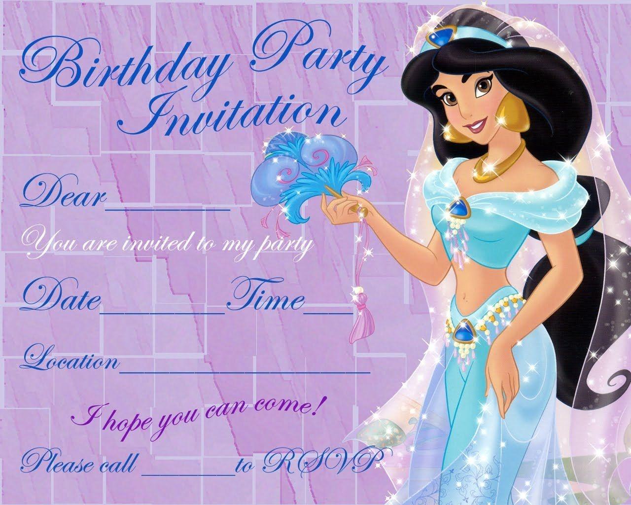 Invitation For Girl | Kids Birthday Ideas In 2019 | Princess Jasmine - Free Printable Princess Jasmine Invitations