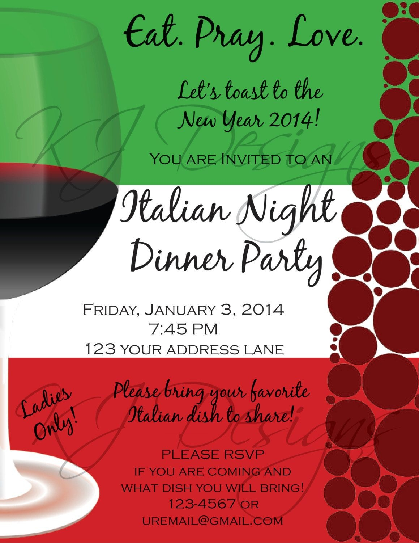 Italian Dinner Party Invitation Template | Parties | Dinner Party - Free Printable Italian Party Invitations