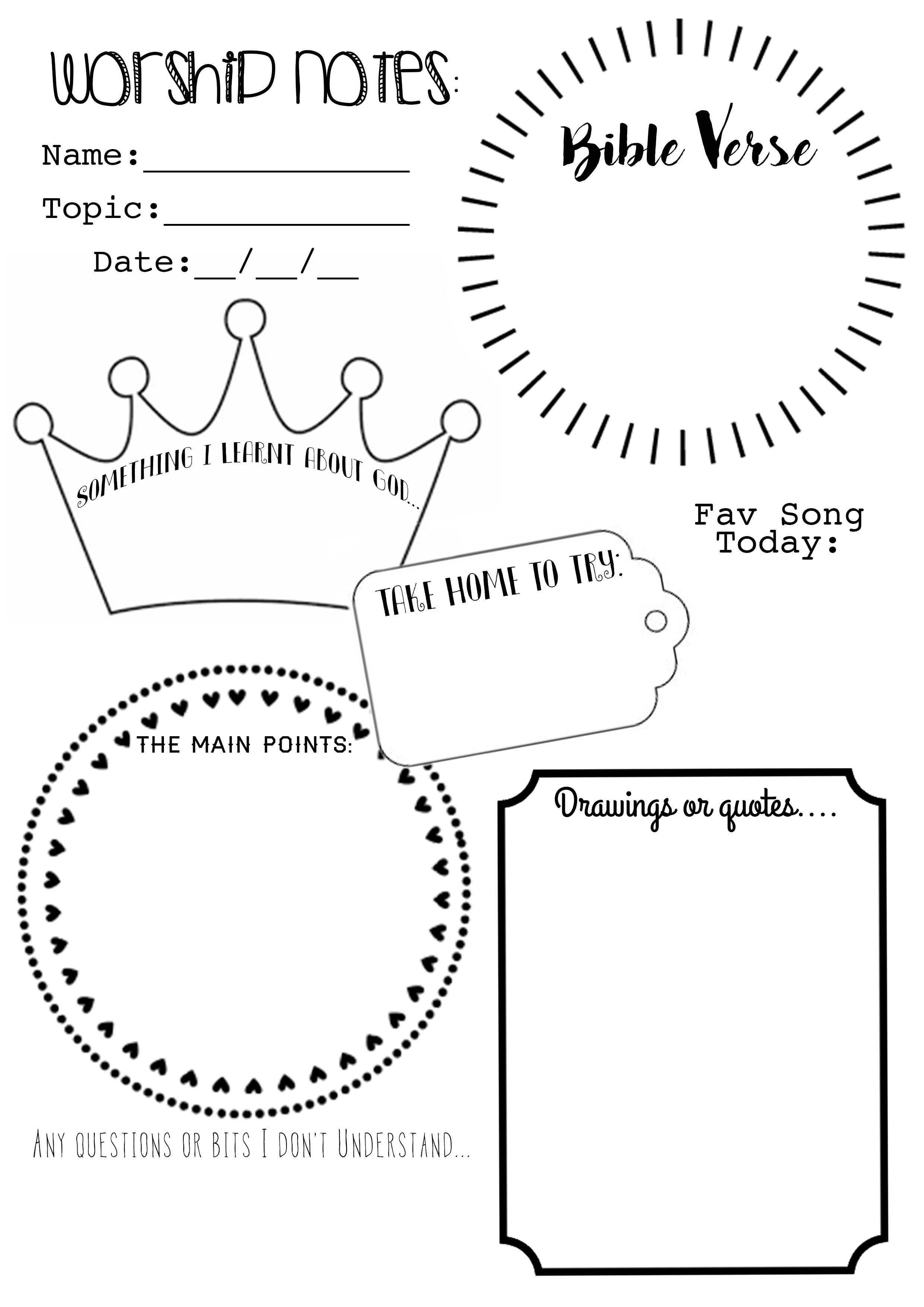 I've Made Up A Worship Notes/ Sermon Notes Free Printable For The - Free Printable Sunday School Lessons For Teens
