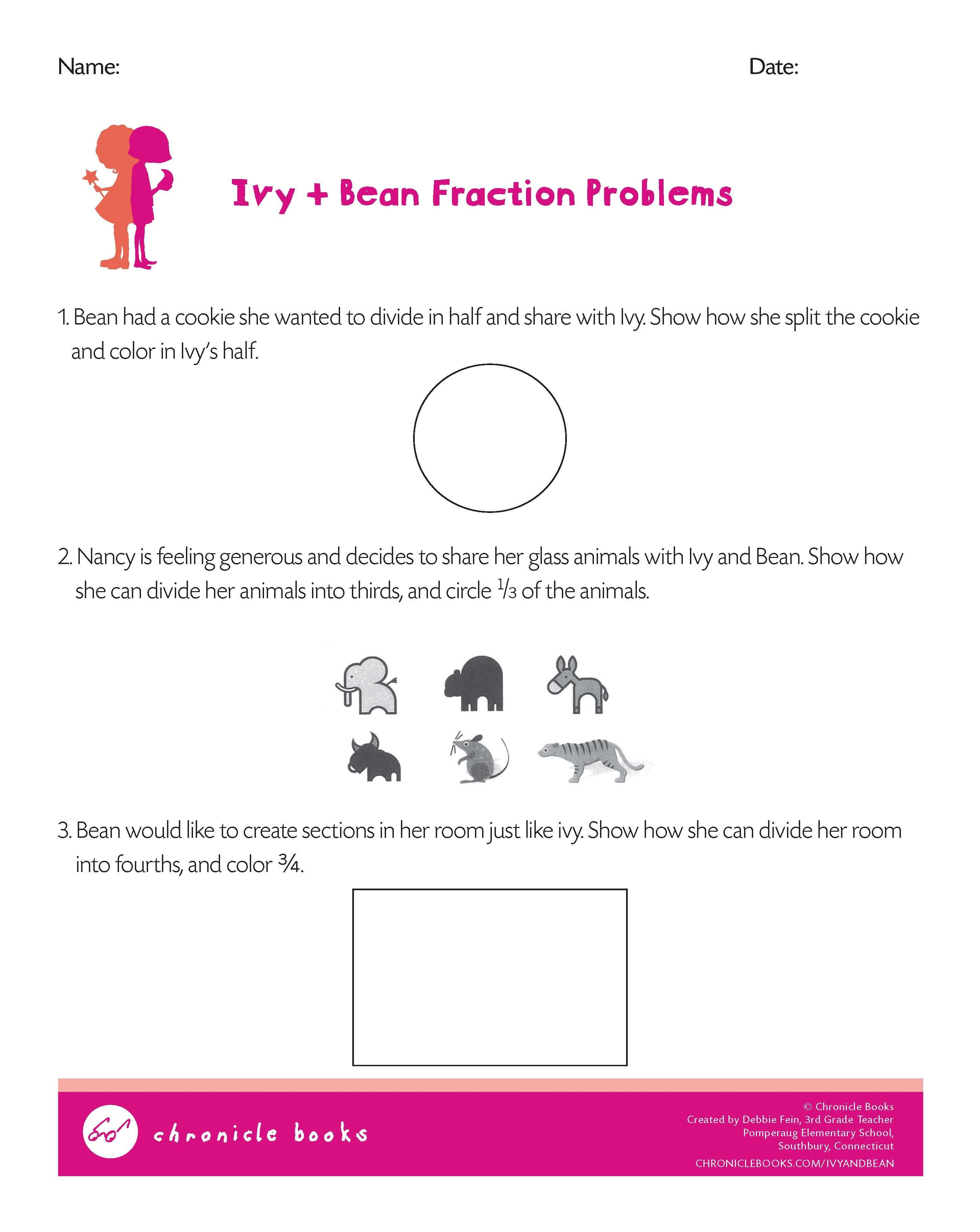 Ivy And Bean Fraction Problems Math Worksheet | For Ivy + Bean Fans - Indian In The Cupboard Free Printable Worksheets