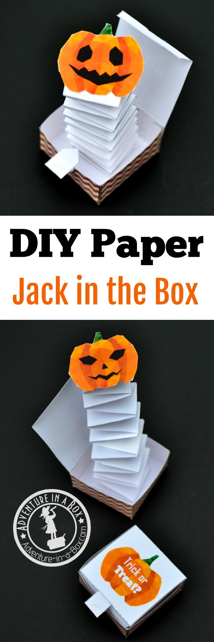 Jack In The Box Paper Toy With A Free Printable Template   Adventure - Free Printable Halloween Paper Crafts