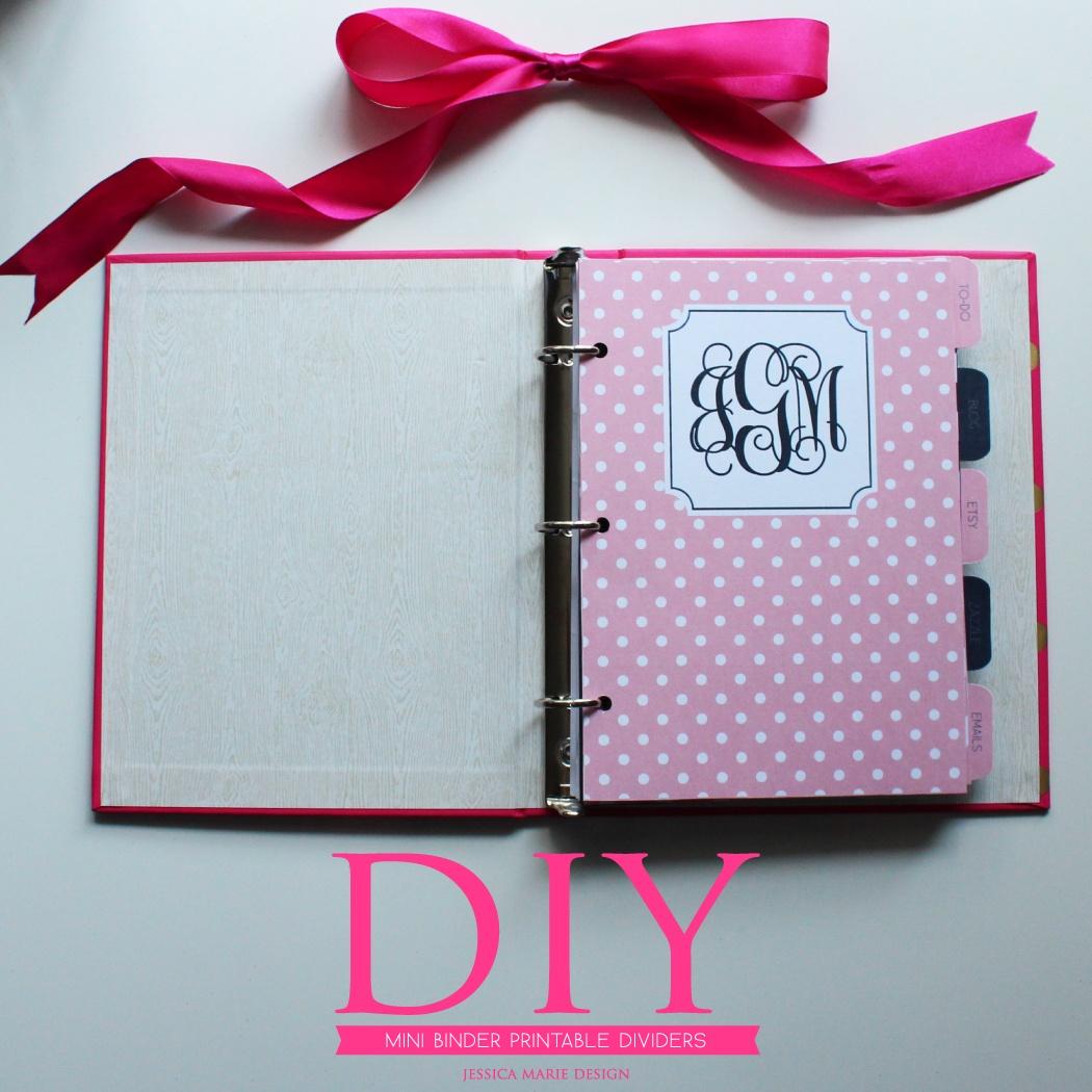 Jessica Marie Design Blog: Diy: Mini Binder Printable Dividers - Mini Binder Free Printables