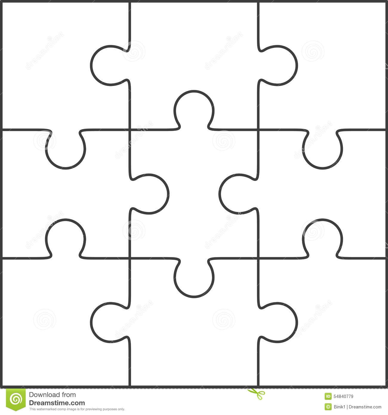 Jigsaw Puzzle Blank Template 3X3 Stock Illustration - Illustration - Free Printable Blank Puzzle Pieces