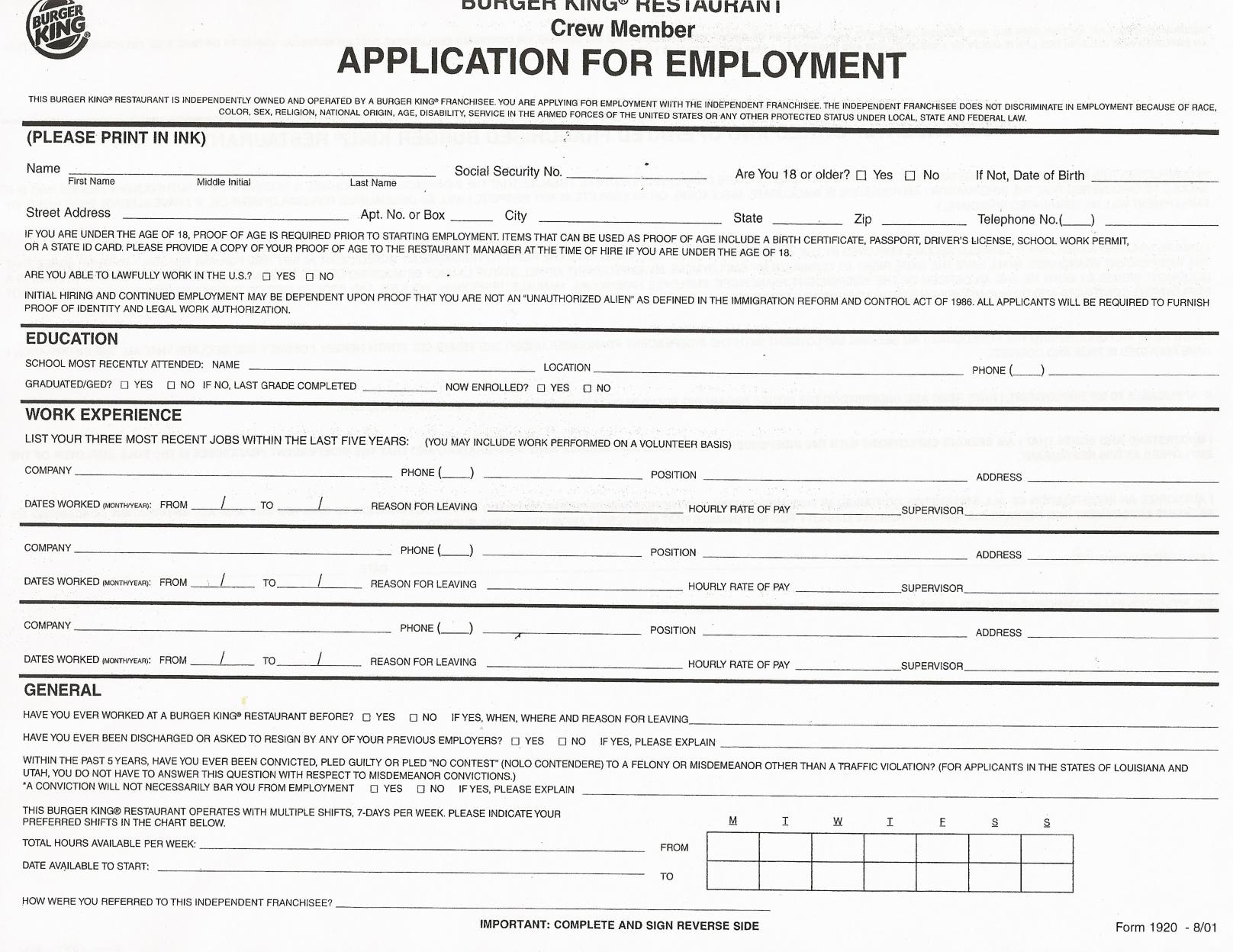 Job Application Printable Job Applications Printable Job Application - Free Online Printable Applications