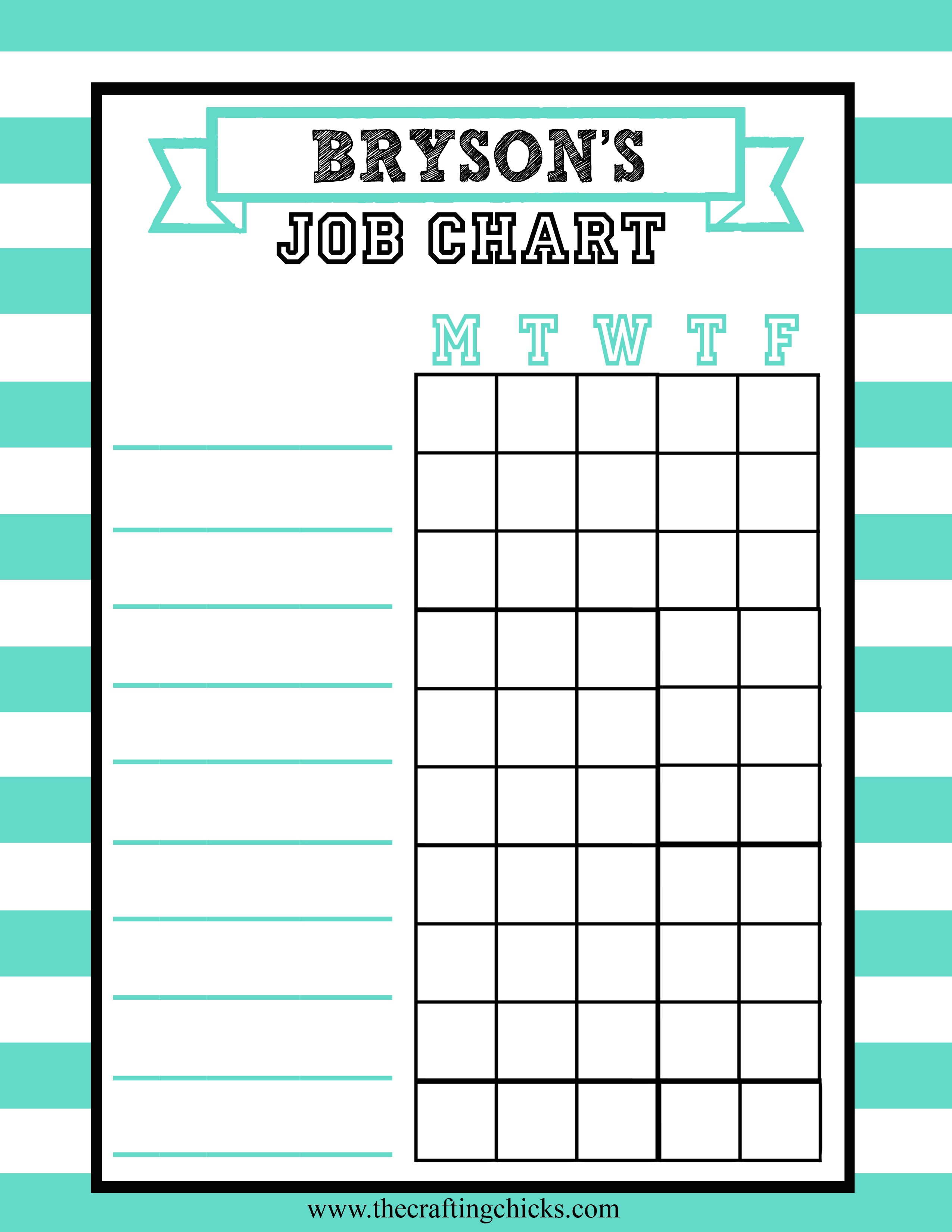 Job Charts Free Printable - The Crafting Chicks - Free Printable To Do Charts