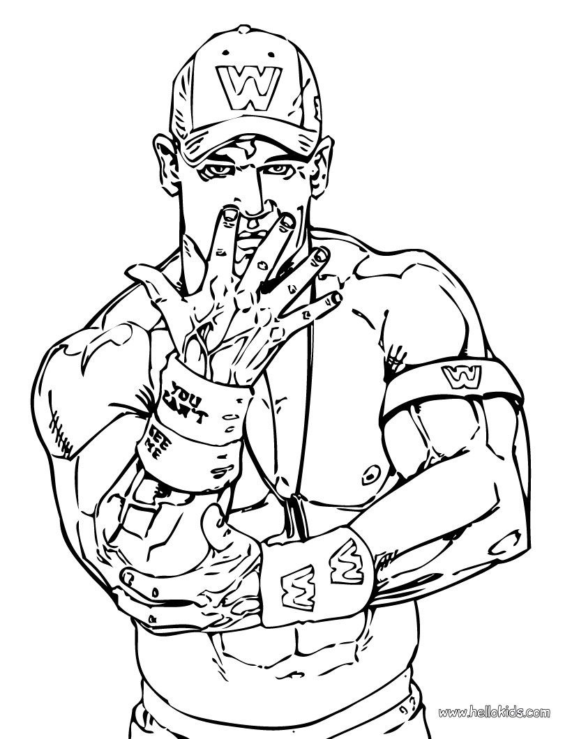 John Cena Coloring Page | Wwe Party | Wwe Coloring Pages, Wrestling - Wwe Colouring Pages Free Printable