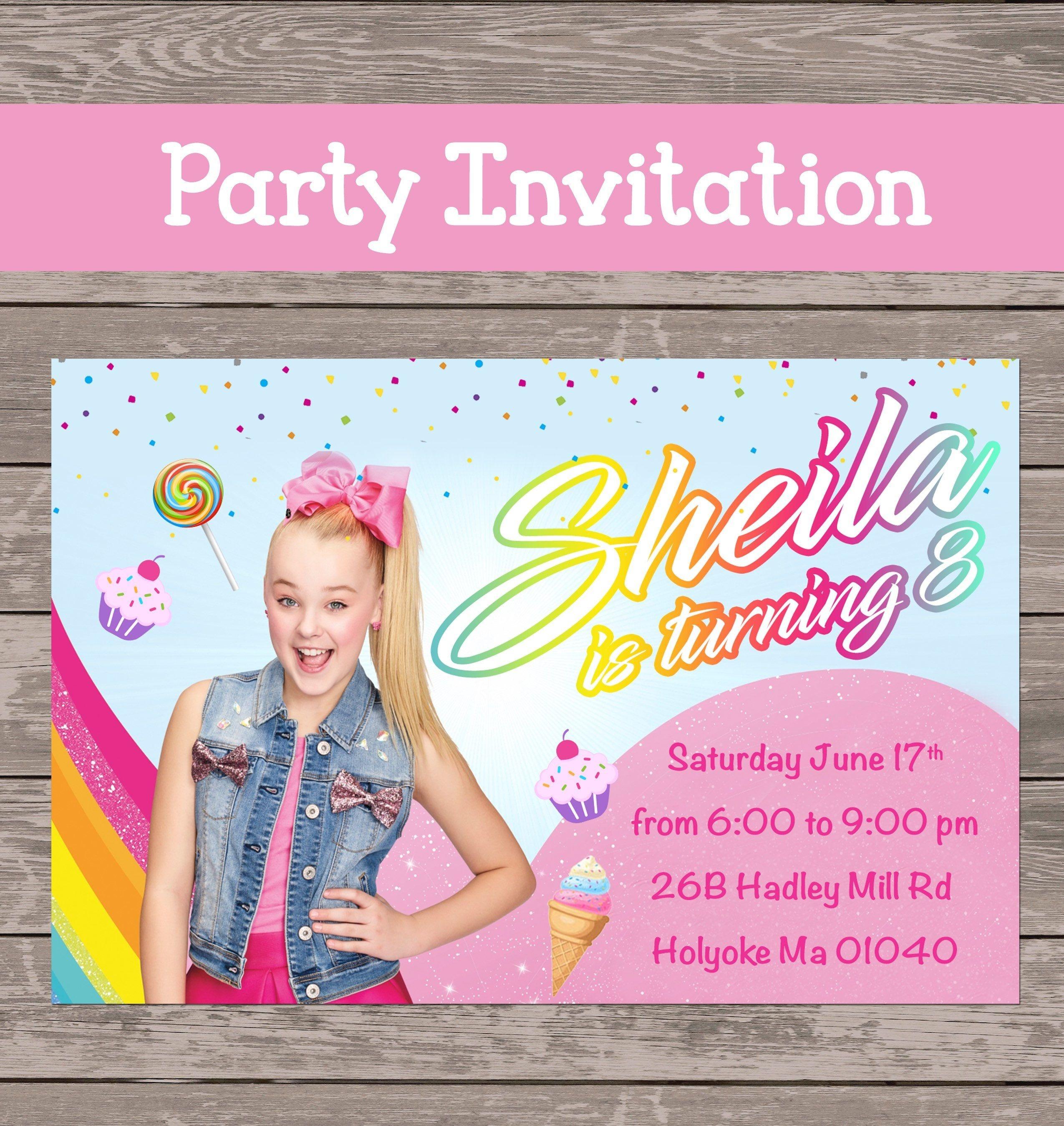 Jojo Siwa Party Invitation (Digital File Only)   Jojo Siwa   Jojo - Jojo Siwa Free Party Printables