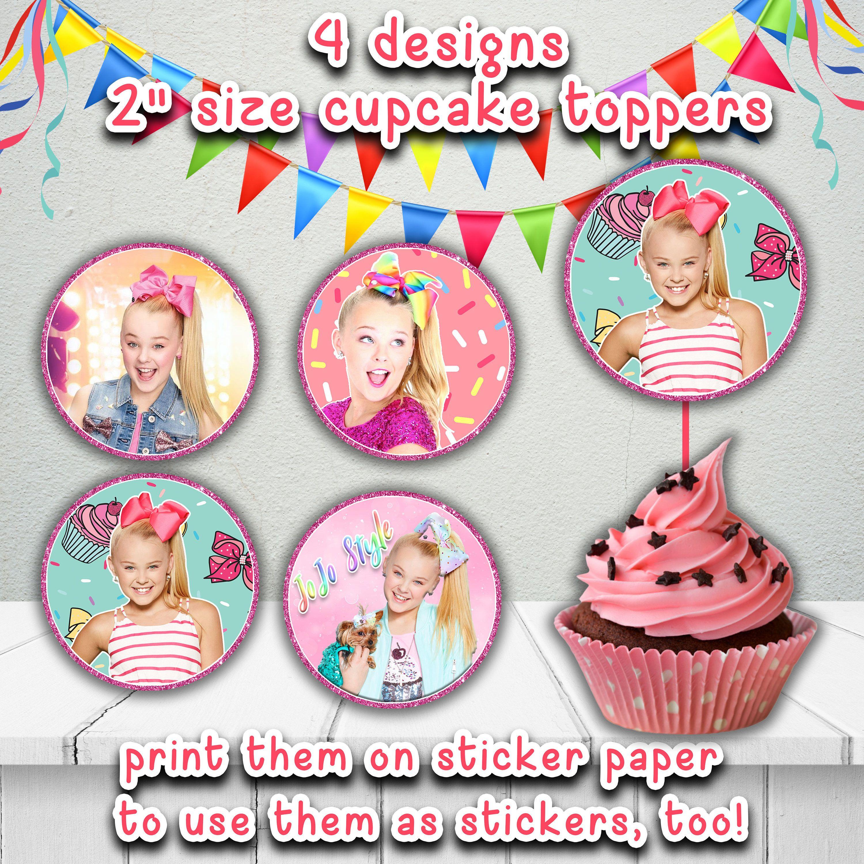 Jojo Siwa Printable Cupcake Toppers,jojo Birthday Party Decoration - Jojo Siwa Free Party Printables